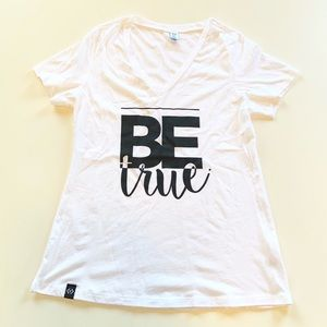 Cents of Style Be True White V-neck Graphic Tee L